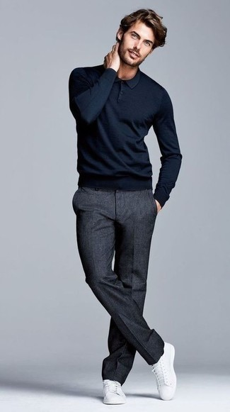 Big T Sleeve Polo Slim Fit In Navy Marl