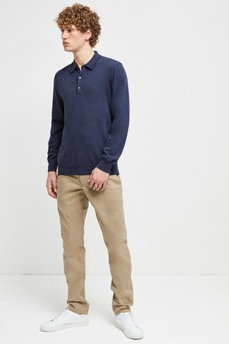 How to wear: navy polo neck sweater, khaki chinos, white leather low top sneakers