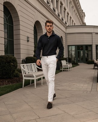 Dark Brown Suede Loafers Outfits For Men: Pair a navy polo neck sweater with white chinos for a clean-cut classy getup. If you wish to instantly perk up your ensemble with a pair of shoes, complement this getup with dark brown suede loafers.