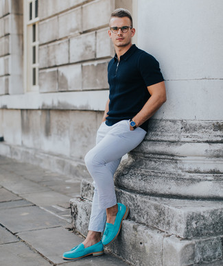How to wear: navy polo, white chinos, aquamarine suede loafers, black leather watch