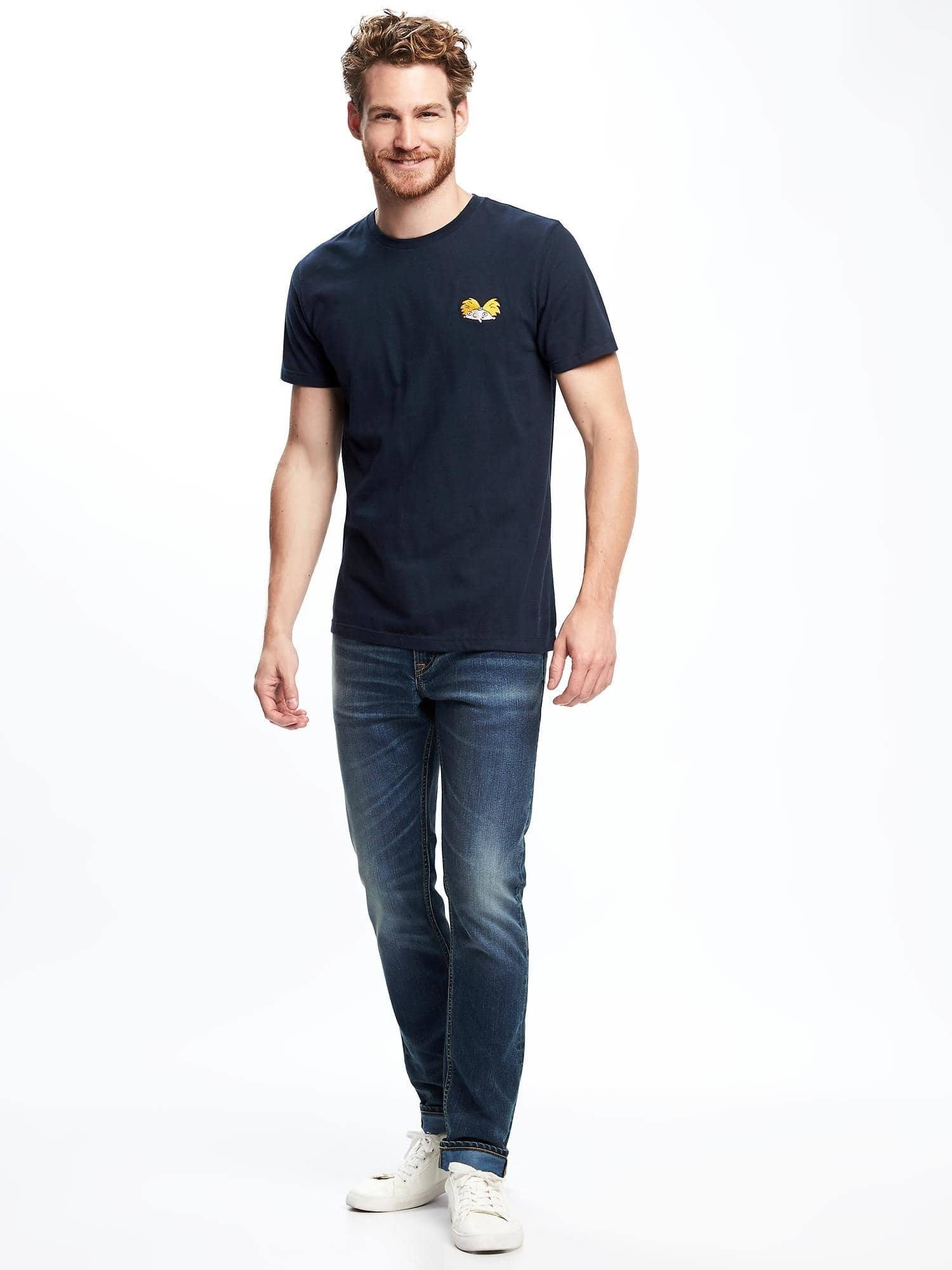 ea6d6319 How to Wear a Navy Print Crew-neck T-shirt For Men (23 looks ...