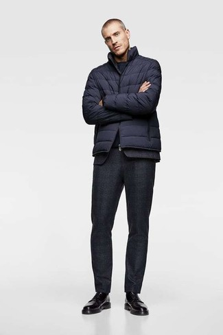 How to wear: navy puffer jacket, black wool suit, navy crew-neck t-shirt, black leather derby shoes