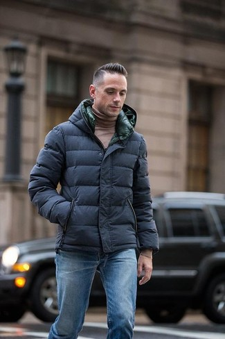 How to wear: navy puffer jacket, brown turtleneck, blue jeans