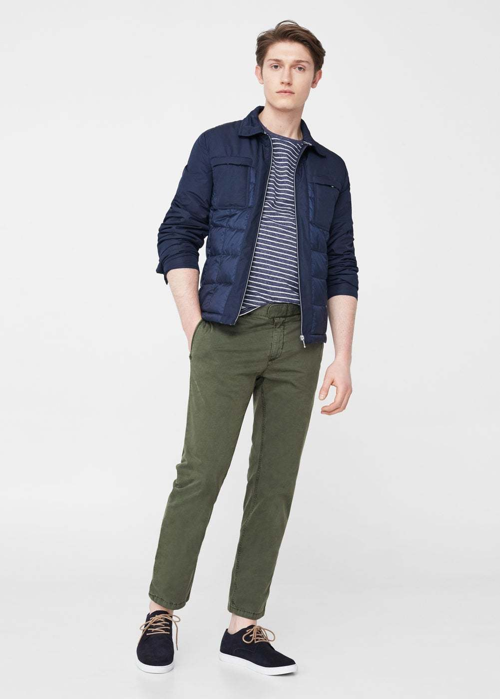Black t shirt navy pants - This Pairing Of A Navy And White Crew Neck Tee And Olive Green Casual Pants