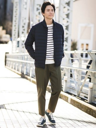 Men's Navy Lightweight Puffer Jacket, White and Navy Horizontal Striped Crew-neck T-shirt, Olive Chinos, Navy and White Canvas Low Top Sneakers