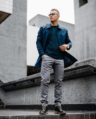 How to wear: navy raincoat, teal crew-neck sweater, grey chinos, black leather brogue boots
