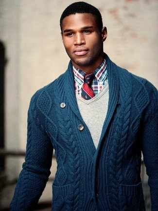 Men's Navy Shawl Cardigan, Beige V-neck Sweater, Red and Navy ...