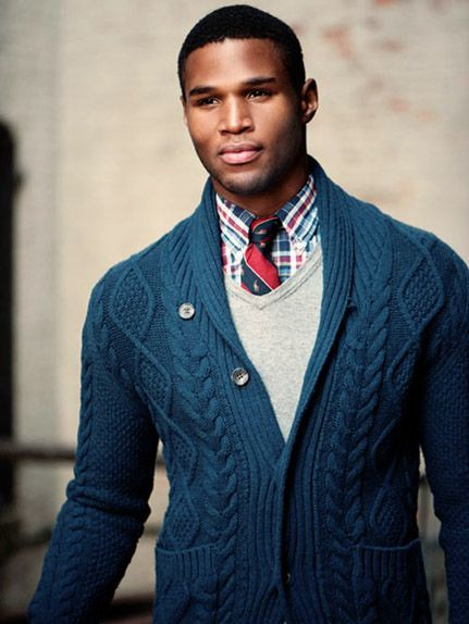 How To Wear a Red Tie With a Navy and White Shawl Cardigan | Men's ...