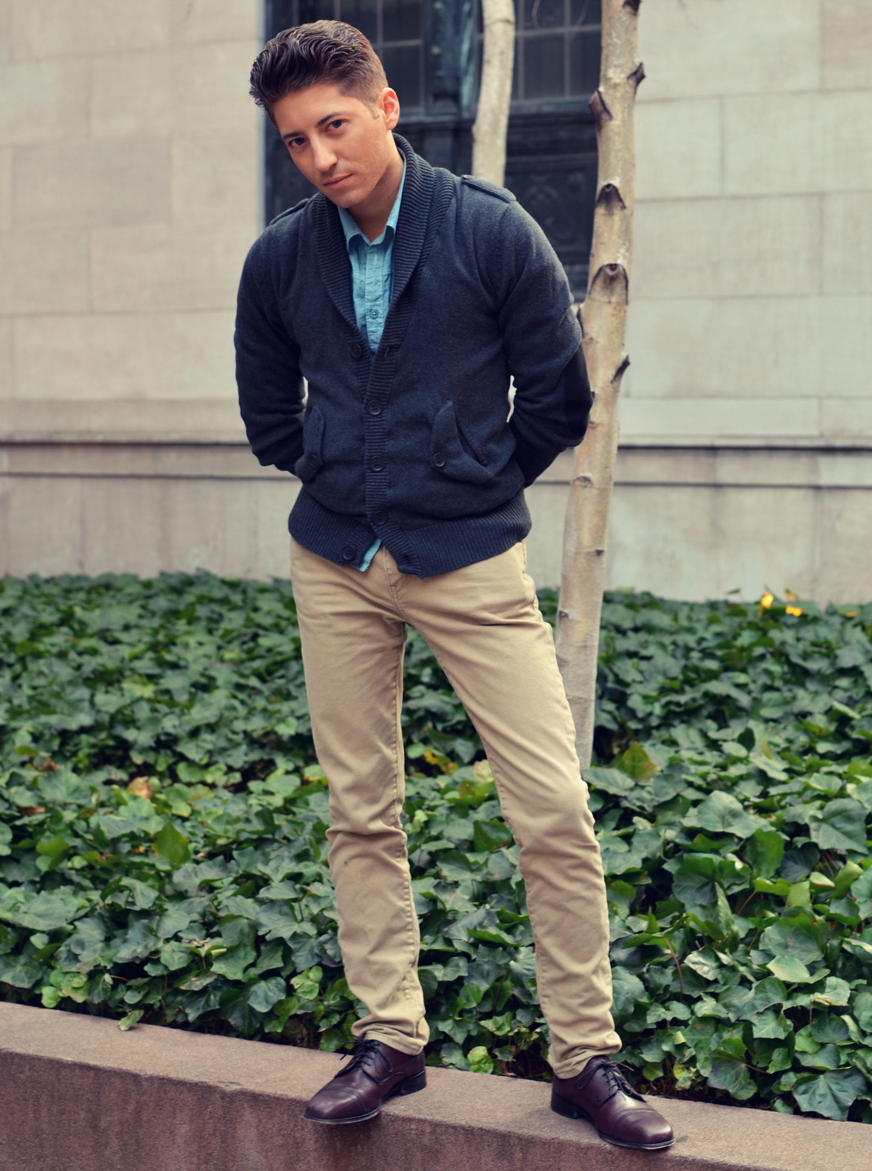 Navy Shirt Khaki Pants Brown Shoes - Style Guru Fashion Glitz Glamour Style unplugged