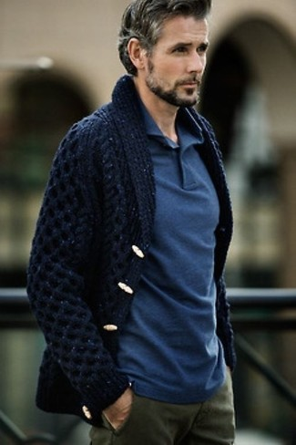 Men's Navy Shawl Cardigan, Blue Polo, Olive Chinos