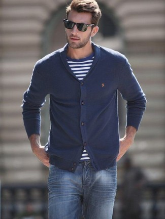 Cotton Shawl Cardigan In Hunter Navy