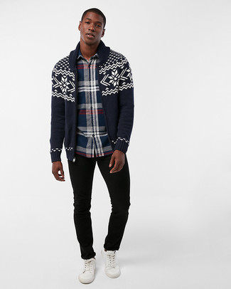 How to wear: navy fair isle shawl cardigan, navy plaid long sleeve shirt, black jeans, white leather low top sneakers