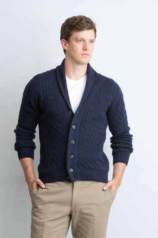 This combination of a Polo Ralph Lauren Carded Cotton Shawl Cardigan and khaki chinos embodies sophistication and versatility. You can bet this getup is great when warmer days are here.