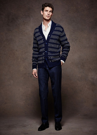 How to wear: navy fair isle shawl cardigan, white long sleeve shirt, navy dress pants, black leather derby shoes