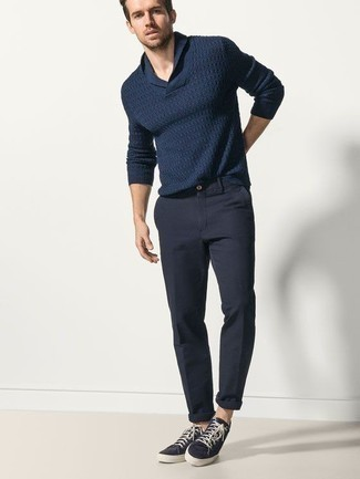 How to Wear a Shawl-Neck Sweater: Choose a shawl-neck sweater and navy chinos to put together an interesting and modern-looking ensemble. For a trendy hi-low mix, complete this look with navy canvas low top sneakers.