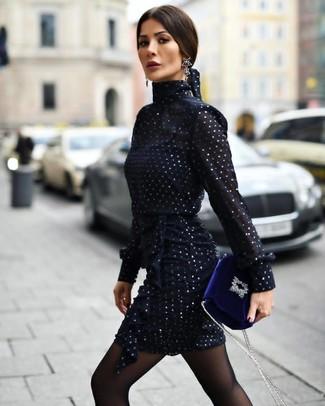 How to wear: navy chiffon sheath dress, blue velvet crossbody bag, black earrings, black tights