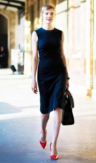 How to wear: navy sheath dress, red leather pumps, black leather tote bag