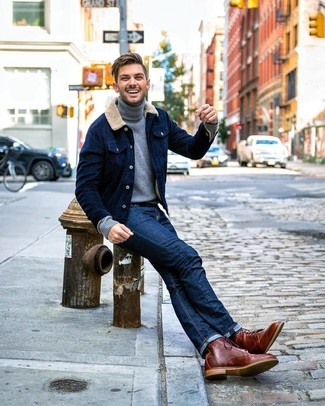 How to wear: navy corduroy shirt jacket, grey turtleneck, navy jeans, brown leather casual boots