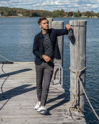Navy Shirt Jacket Outfits For Men: So as you can see, looking stylish doesn't require that much effort. Just reach for a navy shirt jacket and charcoal chinos and you'll look incredibly stylish. Unimpressed with this outfit? Let a pair of white athletic shoes spice things up.