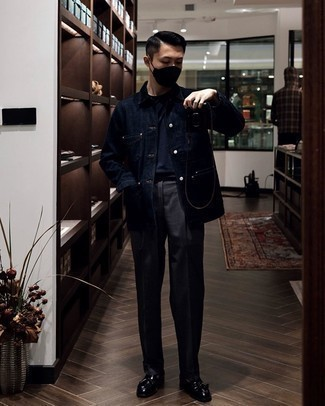 Charcoal Dress Pants Outfits For Men: Putting together a navy denim shirt jacket and charcoal dress pants is a surefire way to infuse masculine sophistication into your styling routine. When it comes to shoes, this ensemble is completed really well with black leather tassel loafers.