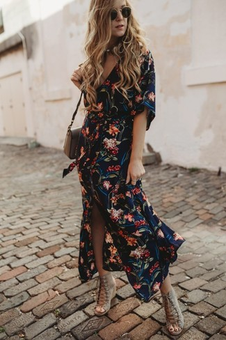 How to wear: navy floral shirtdress, beige suede wedge sandals, brown leather crossbody bag, black sunglasses