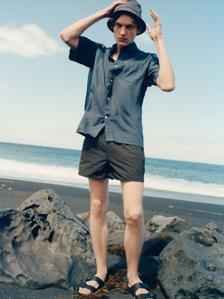 Black Leather Sandals Outfits For Men: If you're in search of a street style yet sharp outfit, wear a navy short sleeve shirt and black swim shorts. For times when this ensemble is too much, dial it down by slipping into a pair of black leather sandals.