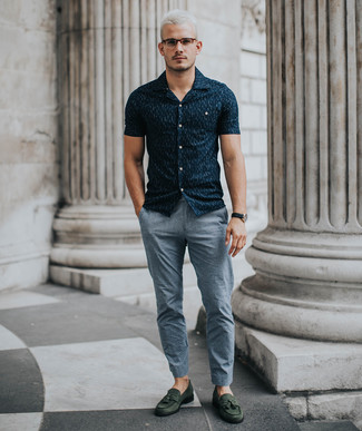 How to wear: navy print short sleeve shirt, grey chinos, dark green suede tassel loafers, black leather watch