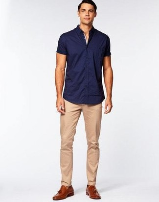 How to wear: navy short sleeve shirt, khaki chinos, brown leather tassel loafers