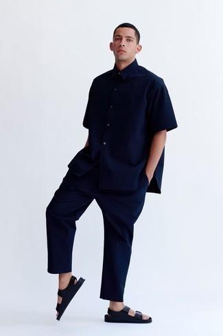 Navy Nylon Short Sleeve Shirt