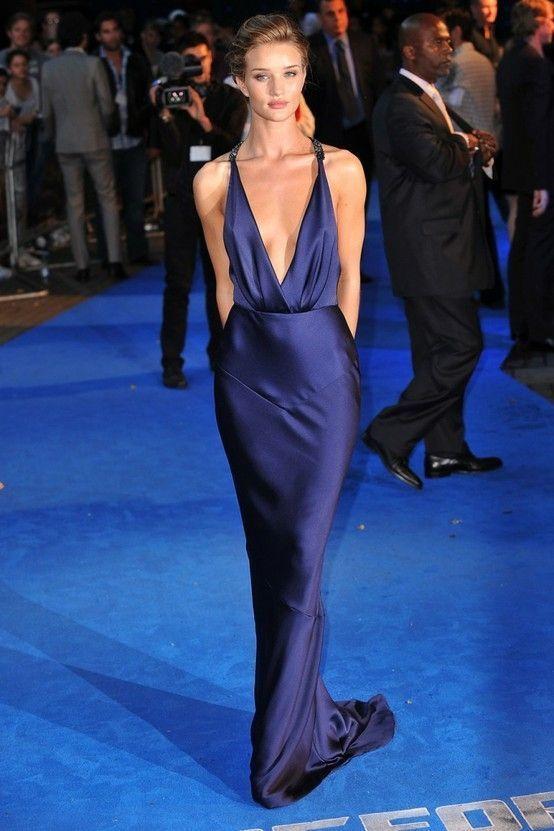 Rosie Huntington-Whiteley wearing Navy Silk Evening Dress ...
