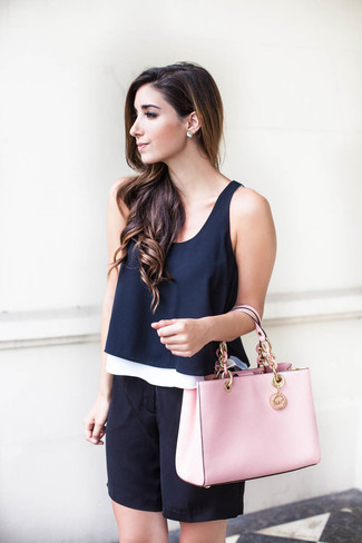 How to wear: navy sleeveless top, black silk bermuda shorts, pink leather tote bag