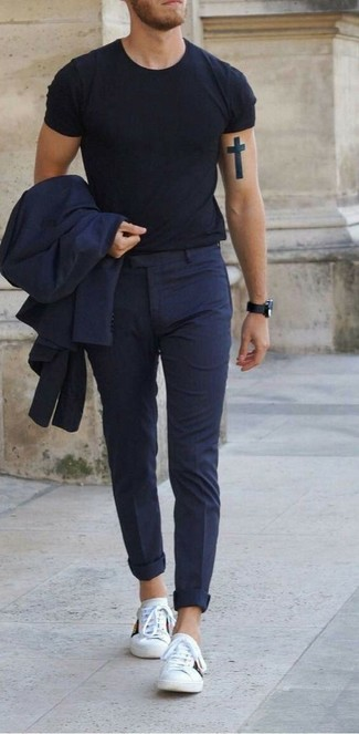 Men's Navy Suit, Black Crew-neck T-shirt, White Leather Low Top Sneakers, Black Leather Watch