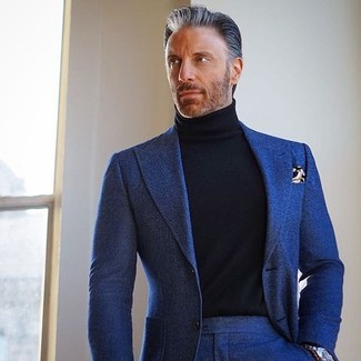 How To Wear a Black Turtleneck With a Navy Suit (7 looks