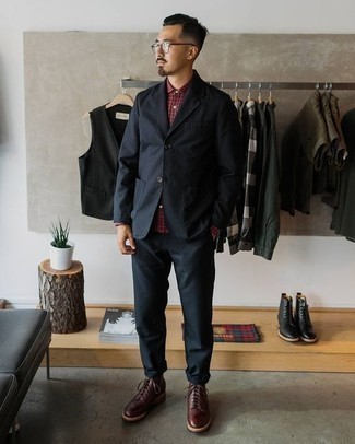 How to Wear Burgundy Leather Casual Boots For Men: A navy suit looks especially sophisticated when teamed with a burgundy plaid long sleeve shirt in a modern man's look. Inject a more relaxed aesthetic into this outfit by wearing burgundy leather casual boots.