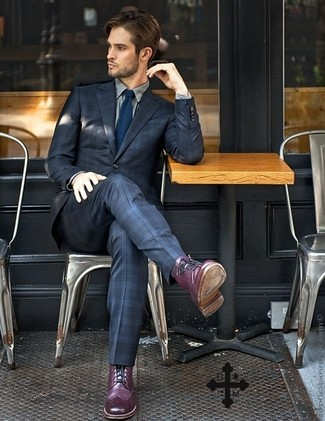 How to wear: navy plaid suit, grey dress shirt, purple leather brogue boots, navy tie