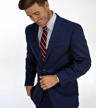 How to wear: navy suit, light blue check dress shirt, burgundy vertical striped tie