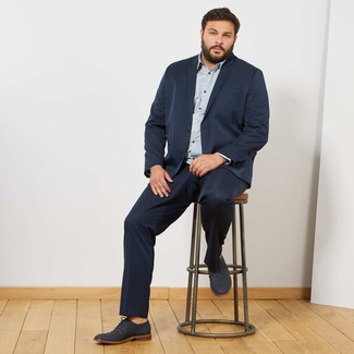 Men's Looks & Outfits: What To Wear In 2020: This combo of a navy suit and a light blue check long sleeve shirt is a real lifesaver when you need to look truly smart. Dial up the formality of your getup a bit by finishing off with navy leather derby shoes.