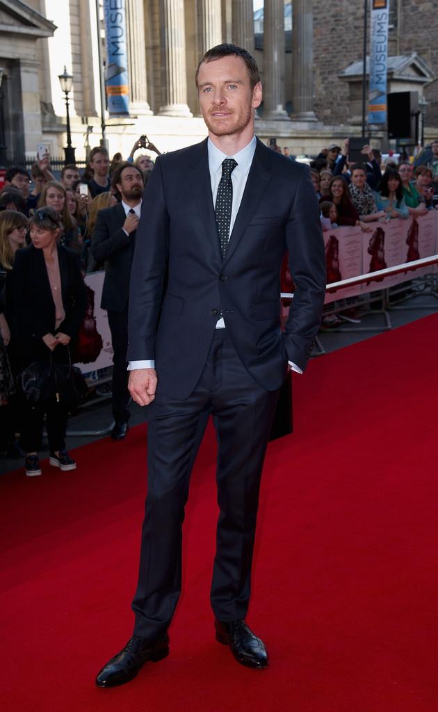 Michael Fassbender wearing Navy Suit, Light Blue Dress Shirt