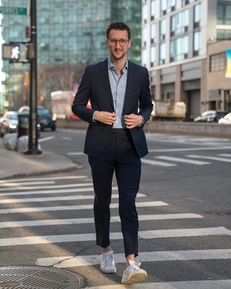 How to wear: navy suit, light blue long sleeve shirt, white leather low top sneakers