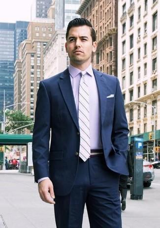 How to wear: navy suit, light violet dress shirt, light violet horizontal striped tie, white polka dot pocket square
