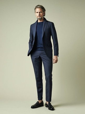 Men's Navy Suit, Navy Crew-neck Sweater, Black Leather Loafers