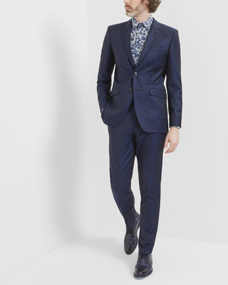 How to wear: navy suit, navy floral dress shirt, black leather derby shoes