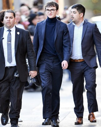 How to wear: navy suit, navy turtleneck, black leather loafers