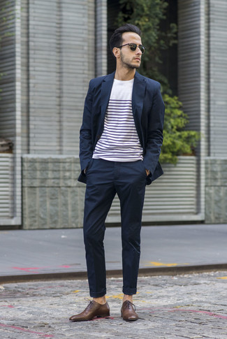 Men's Navy Suit, White and Navy Horizontal Striped Crew-neck T-shirt, Brown Leather Oxford Shoes