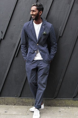 Dark Green Print Pocket Square Outfits: Such must-haves as a navy check suit and a dark green print pocket square are the ideal way to infuse effortless cool into your casual lineup. Let your styling chops truly shine by finishing off this look with white canvas low top sneakers.