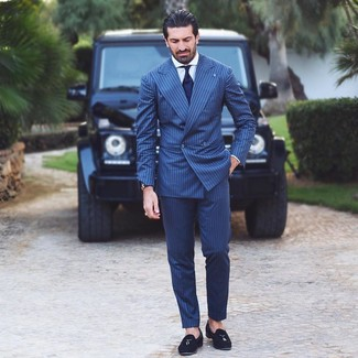 How to wear: navy vertical striped suit, white dress shirt, black suede tassel loafers, navy tie