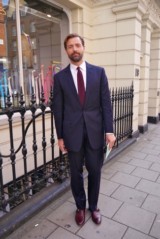 Patrick Grant wearing Navy Suit, White Dress Shirt, Burgundy Leather Monks, Burgundy Tie