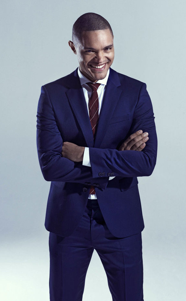 Trevor Noah wearing Navy Suit, White Dress Shirt, Burgundy ...