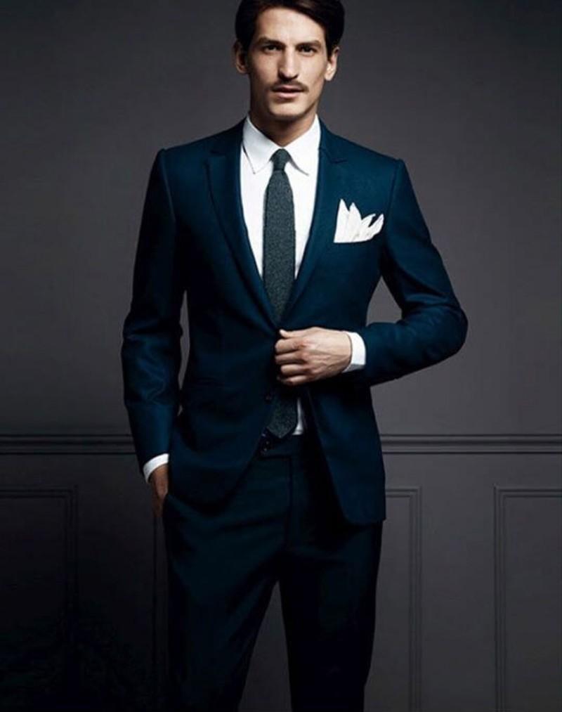 Color dress shirt navy suit