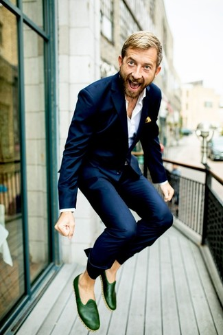 How to wear: navy suit, white dress shirt, dark green leather loafers, yellow print pocket square
